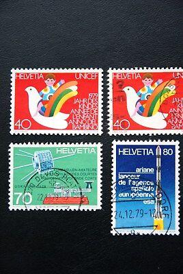 Schweiz, 1979, Raumfahrt u.a. (3 Marken gestempelt, 1 Marke postfrisch)
