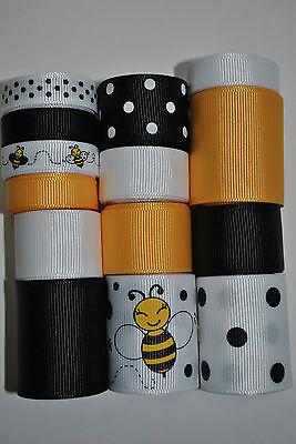 Wholesale grosgrain ribbon lot mix, bumble bee print