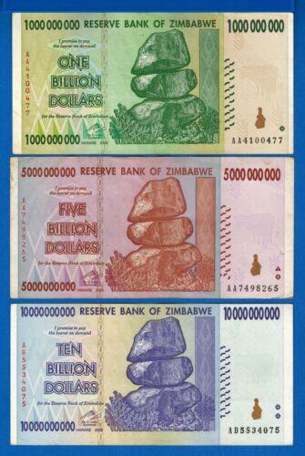 Zimbabwe P-83 P-84 P-85 1,5,10 Billion Year 2008 Circulated Banknotes Set #5
