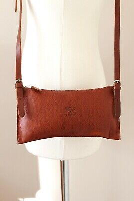 IL BISONTE brown leather small shoulder cross body bag
