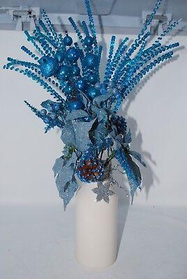 Christmas Floral Centerpiece Turquoise Blue Silver Poinsettia Bird Milk Jar 22