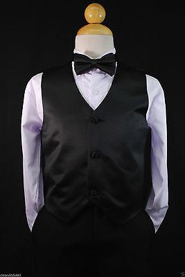 Children Teen Boys BLACK VEST + BOW TIE for Wedding Formal Suits Tuxedo Sz S-28](Suits For Children Boys)