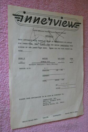 1978 Steve Marriott signed AutoGraph Affidavit Humble Pie Live Ink