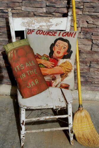 Antique primitive vintage darling garden farmhouse canning jar fruit pillow