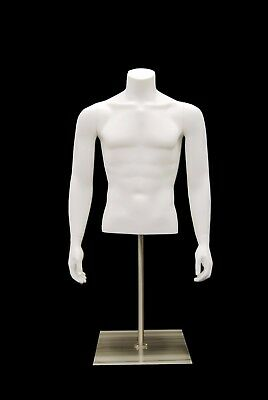 Male Headless Torso Mannequin - Matte White - Male Table Top Torso Mannequin