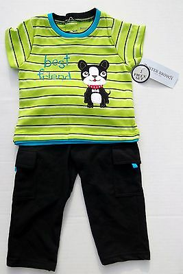 Buster Brown Best Friend Dog 2 Piece Baby Boy Outfit Shirt Pants 12