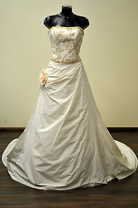 NEW-UK12-ORO-NOVIAS-Wedding-Dress-was-1150-Old-Gold-Ivory-Vintage-Style