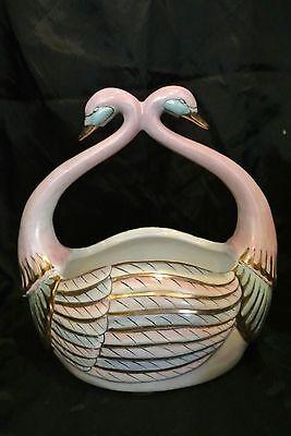 Vtg Asian Swan Porcelain Basket Sold by Ethan Allen