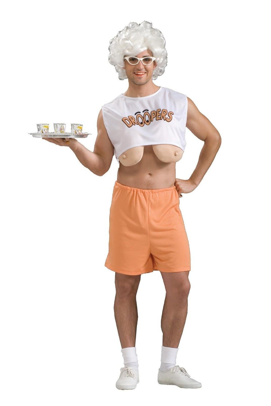 Droopers Funny Hooters Waitress Old Lady Adult Halloween Costume ...