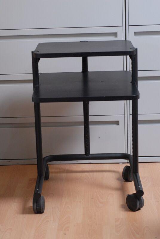 Anthro Computer Office Desk Mobile Cart  Black Table Workstation + Large Casters