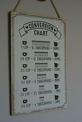 Vintage Kitchen Conversion Chart Sign Plaque cup tbsp ml Shabby Chic Decor