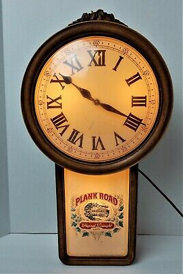 Vintage 1985 Plank Road Original Drought Beer Lighted Wall Clock Used *198