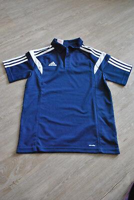 Poloshirt , adidas , Gr. 152 , ClimaLite , Logo gestickt , blau , neu - Adidas Polo-shirt Gestickte