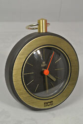 Vtg. AACHEN Round Wall Mantel Clock West Germany Quartz Pocket Watch Style Gold