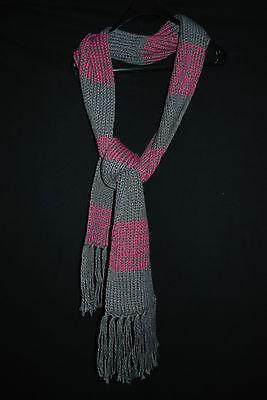 NEU | kuschelig weicher Schal mit Fransen | Rosa + Grau trendy Kuschelschal