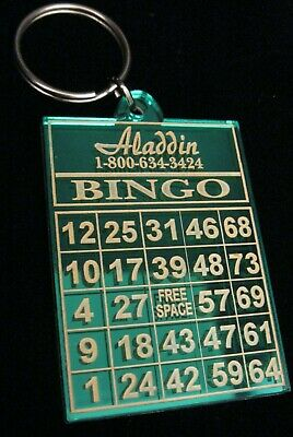 VINTAGE ALADDIN CASINO BINGO KEY CHAIN BINGO CARD ON ONE SIDE MIRROR ON OTHER