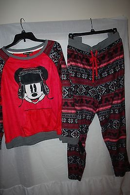 NWT WOMENS DISNEY LUXE FLEECE PAJAMA SHIRT PANT SET MICKEY MOUSE RED BLACK 2X - Disney Luxe Pajamas