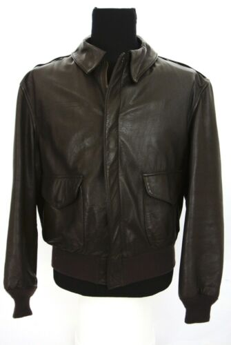 ebbf5427e53 Cooper A-2 A2 Flight Bomber Jacket Made in USA Brown Goatskin Leather 44 R