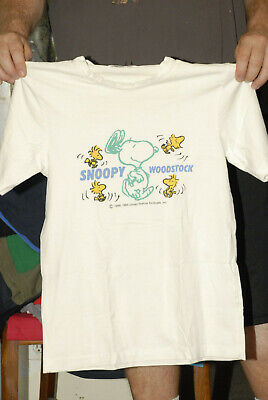 SNOOPY WOODSTOCK T SHIRT DATED 1958 1965 RARE LARGE OFFICIAL MERCH OLD TAG LOOK ()