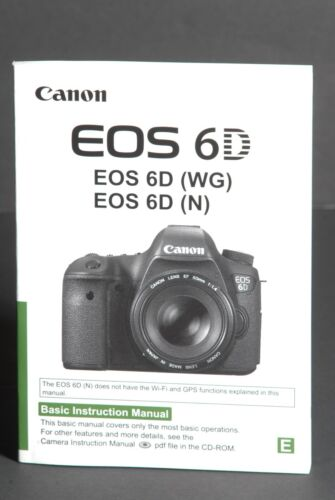 #1 Canon EOS 6D (WG) (N) Camera Instruction Manual / User Guide In English