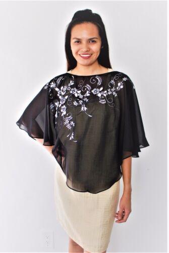 Filipiniana Inspired Chiffon Poncho Hand Painted Philippine Costume - Black