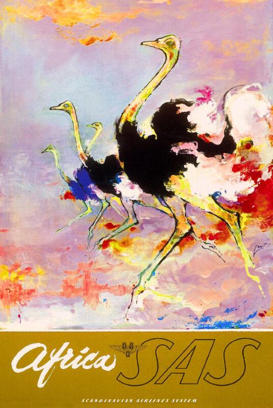 African Afrique Ostrich Africa Vintage Travel Art Poster Advertisement