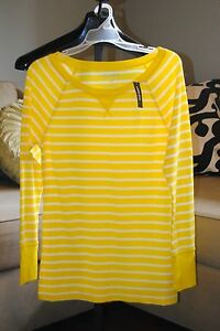 Women's Old Navy Bright Yellow, White Striped Waffle Crew Thermal Top Shirt - M