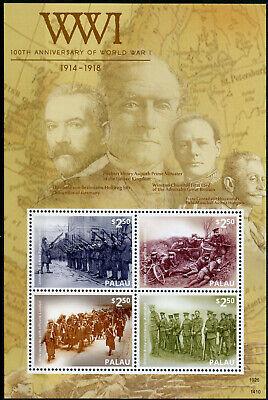 Palau 2014 MNH WWI WW1 100th Anniv World War I Winston Churchill 4v M/S Stamps