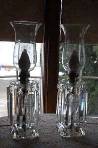 Antique Vintage Hurrican Lamps Pair  Etched Glass Crystal Prism  Mantel Table