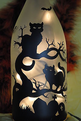 Black Cat, grave yard, spooky, tree, bats, Halloween Lamp bottle light, glowing