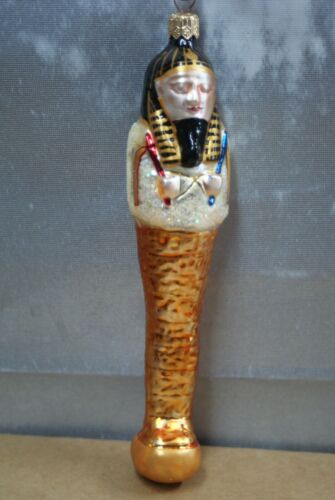 "1994 RADKO BLOWN GLASS ORNAMENT ALL WRAPPED UP 7"" TALL EGYPTIAN MUMMY TOMB hr"