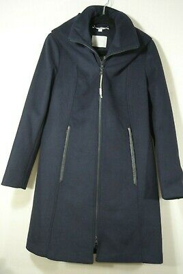 NEW Soia & Kyo Scuba Inset Wool Blend Hooded Coat in Color Navy Size M #C728 (Blend Hooded Coat)