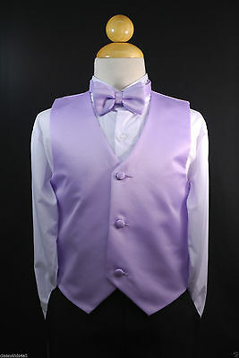 Children Teen Boys LILAC VEST + BOW TIE for Wedding Formal Suits Tuxedo Sz S-28](Suits For Children Boys)