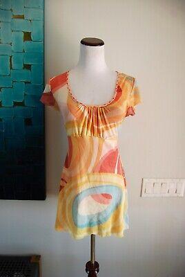 SWEET PEA Mesh Shir Geometric/ Polka Dot Print Scoop Neck Short Sleeve Sz -