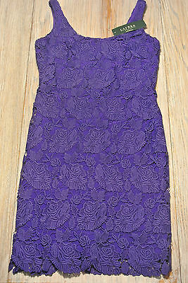 RALPH LAUREN $184 Womens PURPLE LACE Fully Lined Dress SIZE 6 SLEEVELESS **NWT**