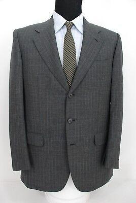 Luciano Barbera Sartoriale 3Btn Suit Jacket Sport Coat Gray Teal Pinstripe 42L