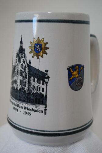 Beer Mug Stein Gerzit Stoneware West Germany Polizeiprasidium Wiesbaden