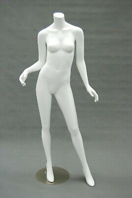 Adult Female Fiberglass Matte White Standing Headless Mannequin With Metal Base