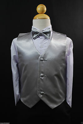 Children Teen Boys SILVER VEST + BOW TIE for Wedding Formal Suits Tuxedo Sz S-28](Suits For Children Boys)