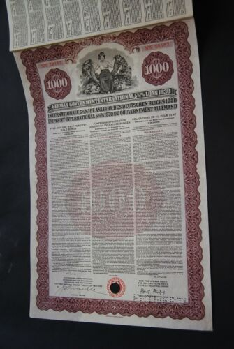Germany: 1930 German Government International 5 1/2 % Loan,  $1000 Gold Bond