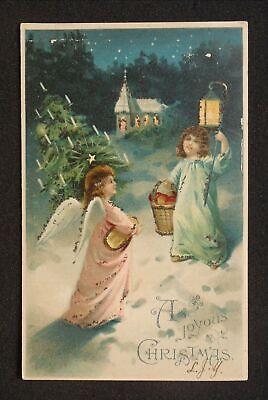 1900s Christmas Greetings Angels in Snow Christmas Tree Lantern Fruit Basket -