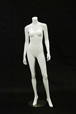 Adult Female Headless Fiberglass Glossy White Mannequin With Metal Base