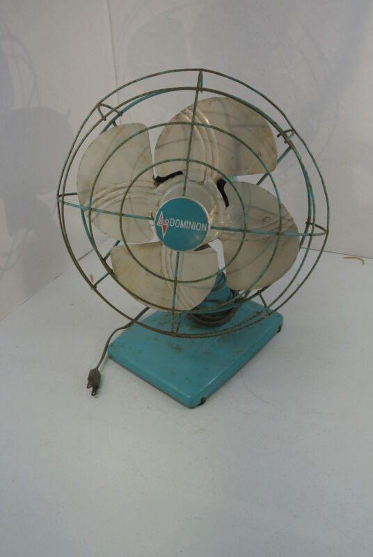 Vintage Retro DOMINION Electric Table Top Oscillating Fan Blue WORKS!!