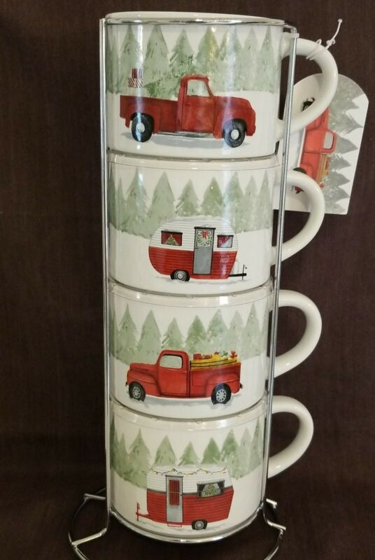 Prima Design Set of 4 White Ceramic Christmas Red Truck Mugs Coffee Tea Cups New