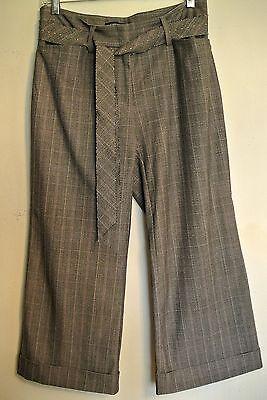 Karen Kane Lifestyle Cropped Plaid Pants/Poly/Rayon/Spandex-Stud Tie Hip Belt-6 Capri Plaid Tie