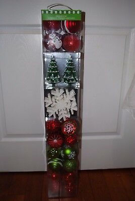 NEW 52pc Christmas Ornaments ShatterProof Red Rural Glitter Snowman Snowflakes