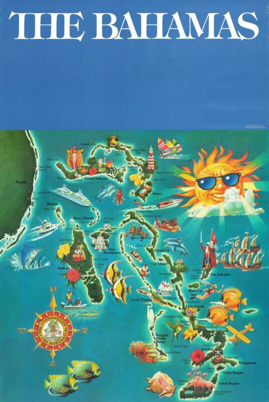 1990 Government of the Bahamas Pictorial Map of the Bahamas