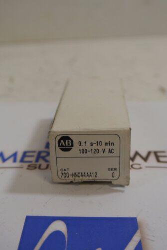 Allen Bradley 700-HNC44AA12 ser C 0.1S-10MIN  120v timing relay