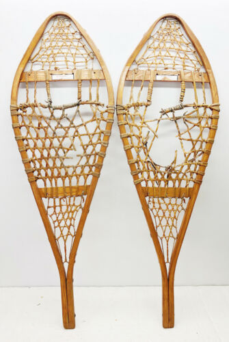 """Antique Vintage 14"""" X 42"""" TORPEDO Snowshoes For Decor/Arts & Craft FREE SHIPPING"""
