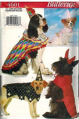 Clown Costume For Dogs (4601 UNCUT Butterick Sewing Pattern Costumes for Dogs Clown Princess Devil)